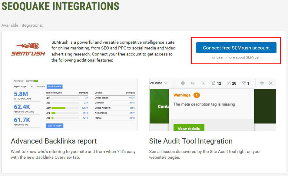 SEOQuake Integration