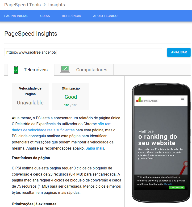 Análise homepage Google PageSpeed Insights